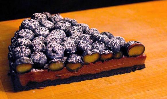 Tarte chocolat et bleuets frais